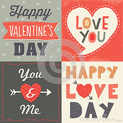 Free Cute Hipster Typographic Valentine Card Set Royalty Free Stock Photos - 37518048
