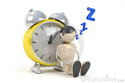 Cute human sleep in clock