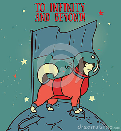 Free Cute Husky In Spacesuit With Flag On New Planet Stock Images - 73362084