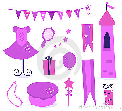 Cute icons for little princess Party.
