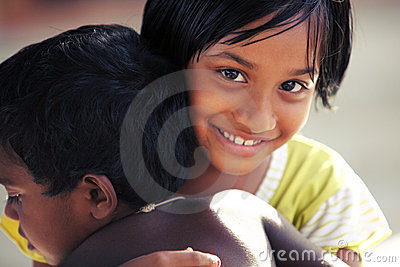 Cute Indian little girl with boy