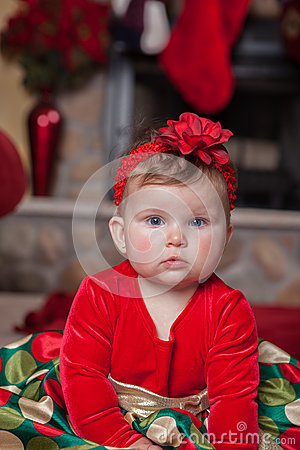 Cute Infant Baby in Christmas Costume