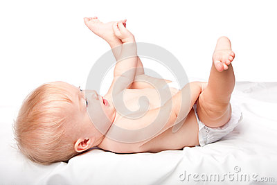 Cute infant laying on back