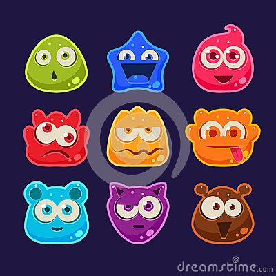 Free Cute Jelly Characters With Different Emotions Stock Image - 57857951