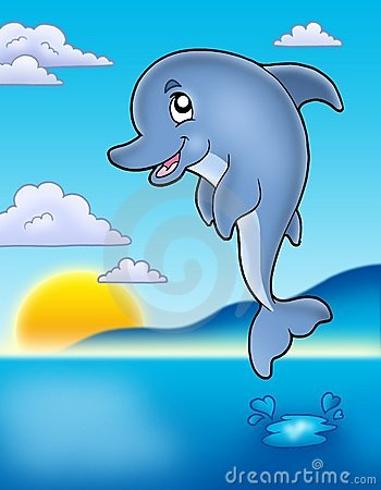Cute Jumping Dolphin With Sunset Stock Photography - Image: 15235492