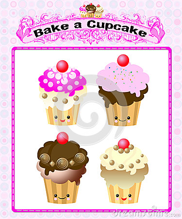 Cute kawaii cup cake