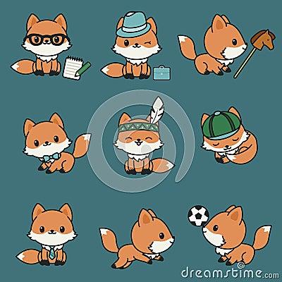 Free Cute Kawaii Foxes Stock Photos - 101961163