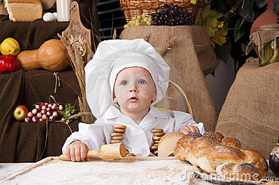 Cute kid as a chef