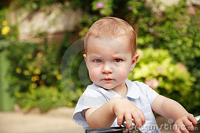 Cute kid with bike