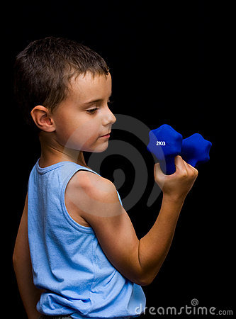 Cute kid doing fitness