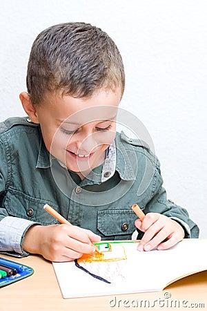 Cute kid drawing