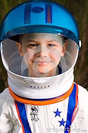 Cute kid dressed as an astronaut