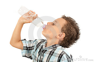 Cute kid drinking water