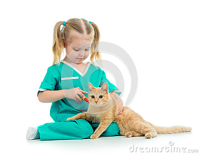 Kid playing doctor with cat