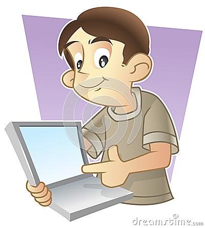 Cute kid showing his laptop screen