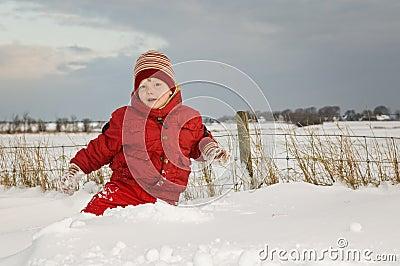 Cute Kid in Snow