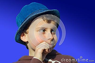 Cute kid thinking