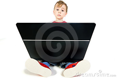 Cute Kid using computer