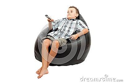 Cute kid watching tv
