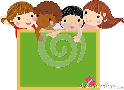 Cute kids with blackboard