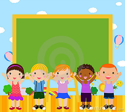 Cute kids with blackboard