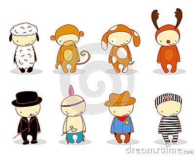 Cute kids in costumes