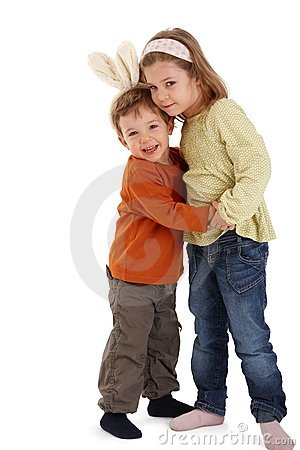 Cute kids hugging