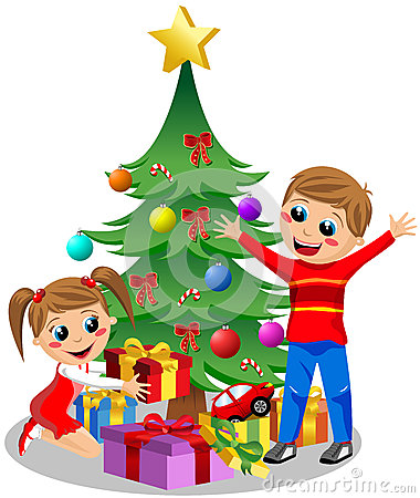 Little Kids Opening Gifts On Christmas Cartoon