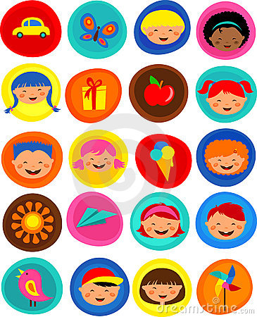 Cute kids pattern with icons,  illustration
