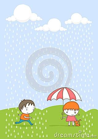 Cute kids in the rain