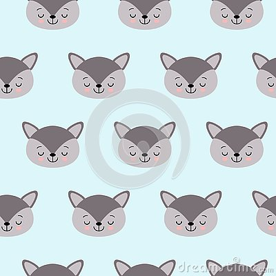 Cute kids wolf pattern for girls and boys Stock Photo