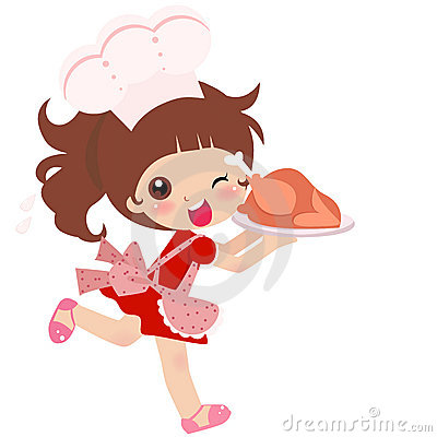 A cute kitchen girl
