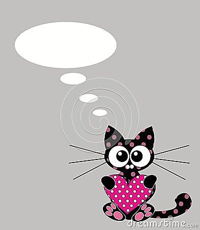 Cute kitten with heart and bubble speech