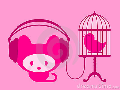 Cute kitten listening to singing bird