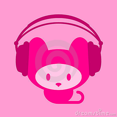 Free Cute Kitten With Headphones Royalty Free Stock Photo - 6883045