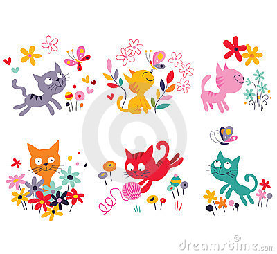 Free Cute Kittens Set Royalty Free Stock Photo - 24115525