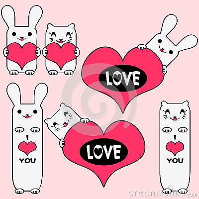 Cute kitties and bunnies holding hearts