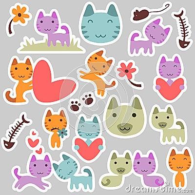 Cute kitty stickers