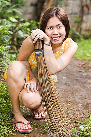 Cute Lady with Broom