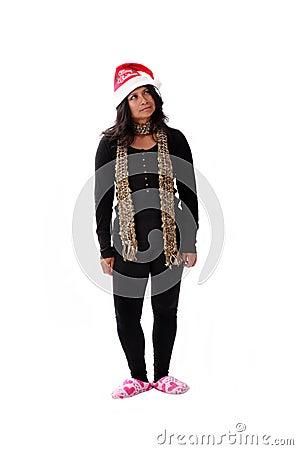 Cute latina girl in a santa hat