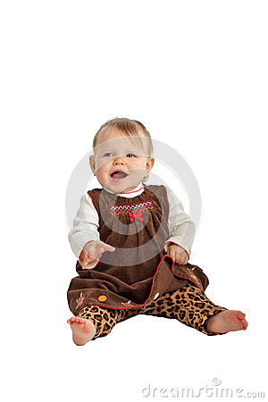 Free Cute Laughing Baby In Brown Velvet Dress Royalty Free Stock Image - 28093436