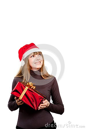 Cute laughing girl holding the red box present