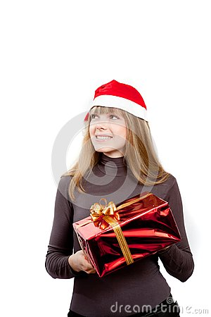 Cute laughing girl holding red box present