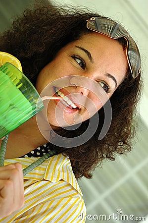 Free Cute Lemonade Drinker Stock Image - 2441421