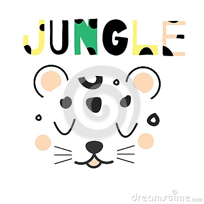 Free Cute Leopard Face. Hand Drawn Jungle Animal Face In Scandinavian Style. For Kids Fashion Prints And Design. Nursery Decoration Stock Photo - 113080590