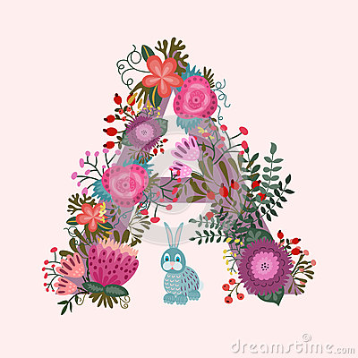 Cute Letter A Floral Monogram A With Vintage Stock Vector