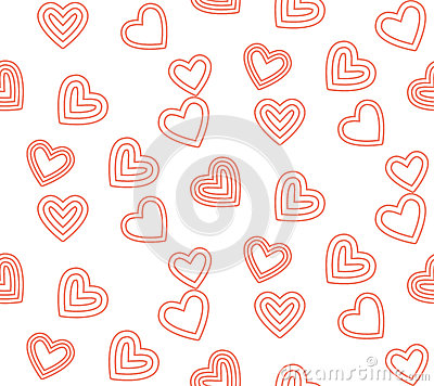 Cute line valentine day pattern background Vector Illustration