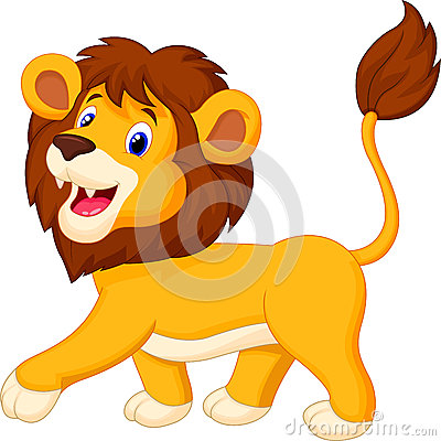 Free Cute Lion Cartoon Walking Royalty Free Stock Images - 45671319