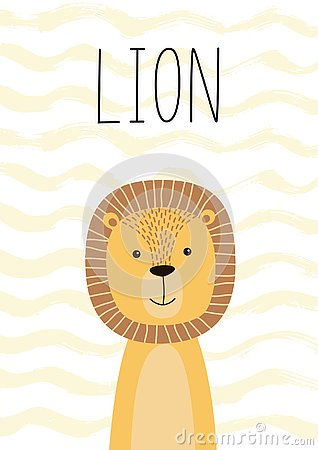 Free Cute Lion. Poster, Card For Kids. Vector Illustration. Royalty Free Stock Images - 127304439