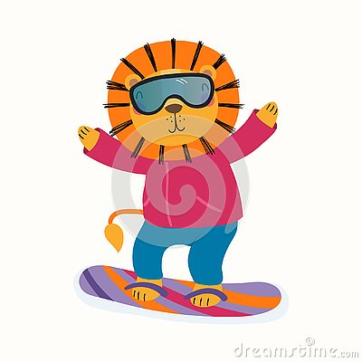 Free Cute Lion Snowboarding In Winter Royalty Free Stock Image - 129178896